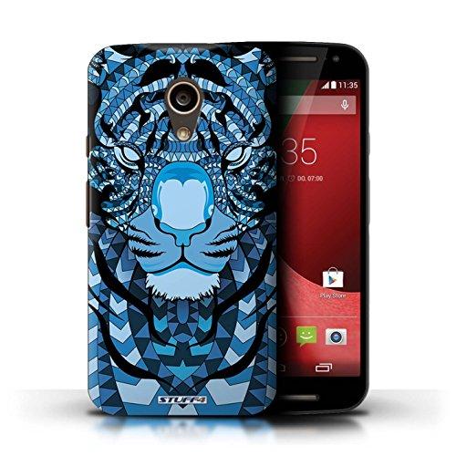 Kobalt® Imprimé Etui / Coque pour Motorola Moto G (2014) / Singe-Sépia conception / Série Motif Animaux Aztec Tigre-Bleu