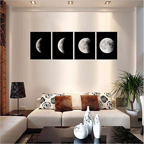 YCRD Pintura De Arte Moderno Micro-Spray Luna Blanca Y Negra Sin Marco Cuadro En Lienzo 4Pcs Sala De Estar Inicio Sofá De Pared DecoracióN Pinturas Colgantes Listo Para Colgar 30cm×40cm
