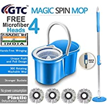 GTC Floor Cleaning PVC Dryer Bucket Mop with 4 Refills Color May Vary (Made in India)