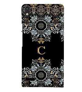 Fiobs floral pattern cloth design alphabet C Designer Back Case Cover for Huawei Ascend P6