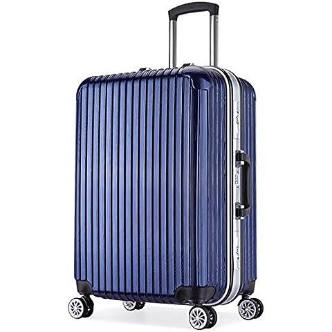 ZHLONG Telaio in alluminio Trolley Custodia da viaggio universale rotella cassa dei bagagli , 3 , 22 inch - 22 Pelle Mm Brown