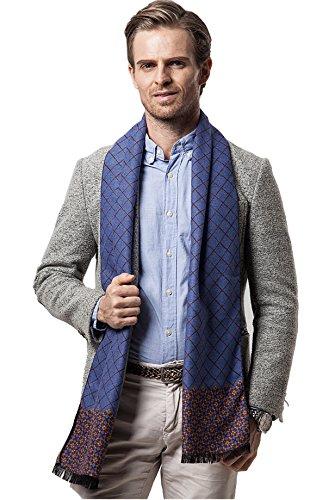 Bufanda de Hombre la tela escocesa cozy Abrigo Del Mantón cuello bufanda Regalos para Hombre (Azul)