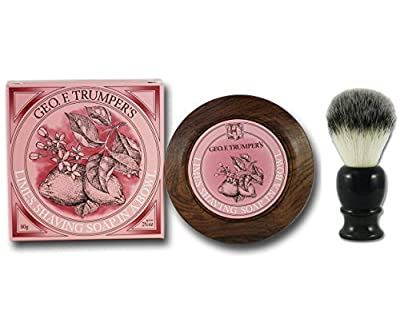 Geo F Trumper Extract of Limes Shaving Soap and Bowl with Executive Shaving Synthetic Fibre Shaving Brush with Black Handle by Geo F Trumper