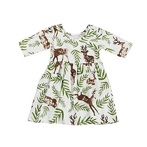 Sakure pour tout-petits enfants bébé fille A-Line Longueur au genou à manches courtes Floral Deer Princesse robes de vacances
