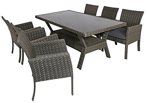 6x Stühle 1 X Tisch Polyrattan Sitzgarnitur Grau Sitzgarnitur