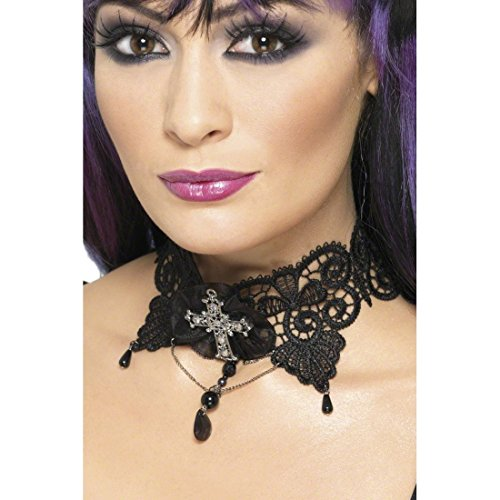 Preisvergleich Produktbild Gothic Barock Halskette Strass Halsband Schwarz Collier Gothic Choker Schmuck Kette