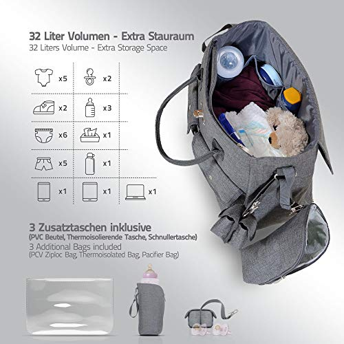 LCP Kids Wickeltasche RIO GREY - 3