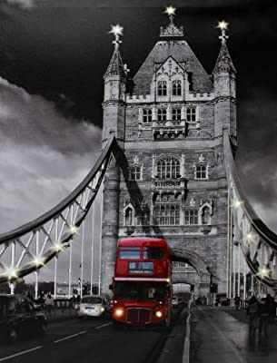 Large Canvas Print Picture with Lights London Bridge + Red Bus