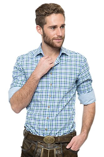 OS-Trachten Herren Trachtenhemd Nathan blau/grün H040065 44