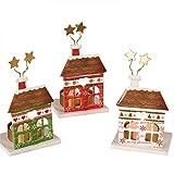 Mopec Portavelas metálicos de casita navideñas, Metal, 5 x 6.5 x 8.7 cm, 3 Unidades