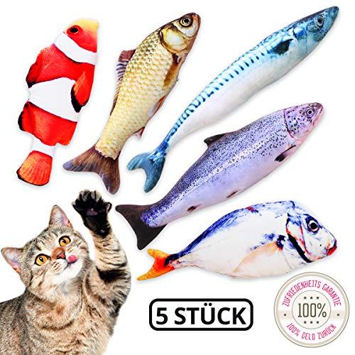 TILLMANN\'S Katzenminze Spielzeug, Set mit 5 Fischen I wie Baldrian für Katzen I Katzenspielzeug mit Minze I mit Katzenminze gefüllte Fisch Kissen