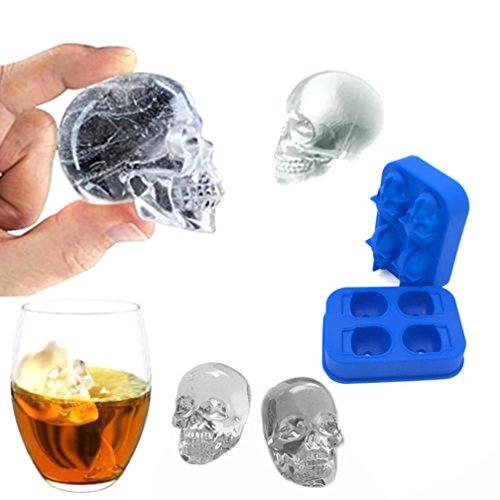 Eiswürfelform 3D Schädel Form Eiswürfel Mold Silikon Maker, Ideal für Bar Party Whiskey Cocktail Getränk Perfektes Whiskytrinker Geschenk für Kinder Halloween Christmas By Upxiang (Blau) (Mini Schimmel Herz Silikon)