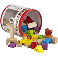 ColorBaby - Cubo 50 bloques & figuras de madera natural (42747)