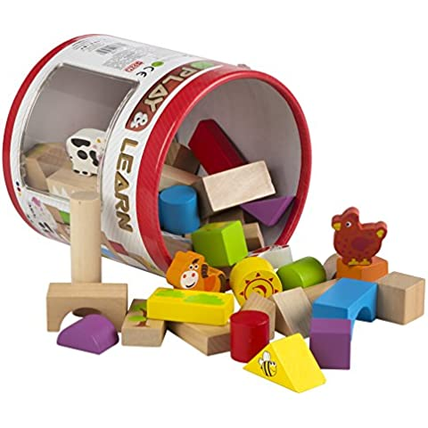 ColorBaby - Cubo 50 bloques y figuras, madera natural (42747)