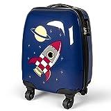 MasterGear Kinder Koffer im Raketen Design , Handgepäck Größe , Kinderkoffer mit 4 Rollen (360 Grad) , Trolley, Reisekoffer, Hartschalenkoffer, ABS, Zahlenschloss