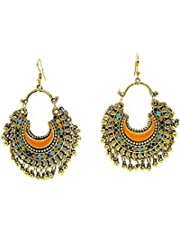 Muccasacra Golden Shimmer Kashmiri N Afghani Alloy,Multicolour Dangle Earring For Women And Girls