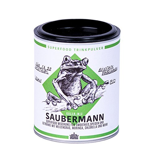 Berlin Organics Saubermann - Big 5 Superfood Smoothie Mischung - grüne Superfoods - Weizengras – Gerstengras – Moringa – 100% Bio & Vegan