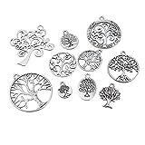 Souarts 1 Set Antik Silber Lebensbaum Schmuckzubehör Basteln Charms Anhänger Für Halskette Armband 10St