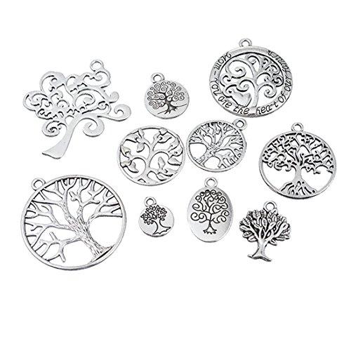 Preisvergleich Produktbild Souarts 1 Set Antik Silber Lebensbaum Schmuckzubehör Basteln Charms Anhänger Für Halskette Armband 10St
