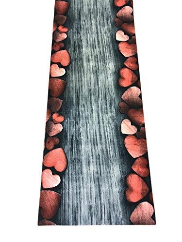 Tappeto cucina a metraggio pvc largo 55 grigio silver rosso cuori
