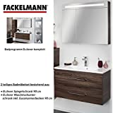 Fackelmann de muebles de baño Set B. Clever de 2piezas 90cm marrón con lavabo armario Incluye fundido (mármol & LED Armario con espejo