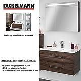 Fackelmann Badmöbel Set B.Clever 2-tlg. 90 cm braun mit Waschtisch Unterschrank inkl. Gussmarmorbecken & LED Spiegelschrank