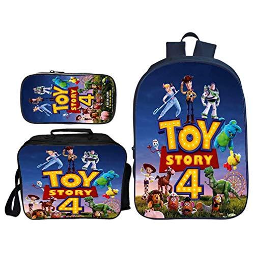 TREES Borsa da Scuola per Bambini Toy Story 4 Set di librerie Scolastiche Zaini per Studenti Set di 3 Pezzi: Zaini scolastici con Pranzo al Sacco Termico e Astuccio,a