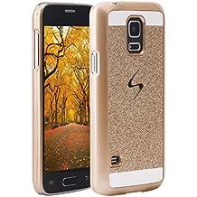 Galaxy S5 Mini Hard Case, para Samsung Galaxy S5 Mini Funda Rigida, Asnlove PC Cover Carcasas y funda policardonato dura brillo cover back shell skin diseño bling brillante tapa trasera para Samsung Galaxy S5 Mini G800, Oro