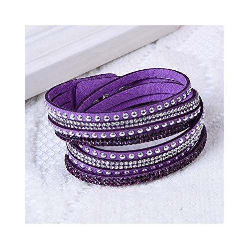 Armband Armreif, Schmuckgeschenk,9 Colors Ebay Hot Slake Deluxe Bracelet Rivet Multi-Layer Wrap Austrian Crystal Leather Armband Armreifs for Women Purple