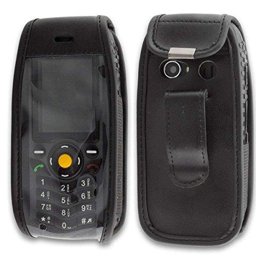 caseroxx Handy-Tasche Ledertasche mit Gürtelclip für CAT B25 aus Echtleder, Handyhülle für Gürtel (mit Sichtfenster aus schmutzabweisender Klarsichtfolie in schwarz)