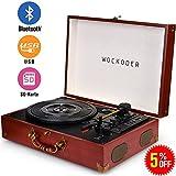 BoxLegend Turntable Vinyl Plattenspieler Koffer Vintage Retro Bluetooth USB Nostalgie Schallplattenspieler mit Lautsprecher Riemenantrieb Aux-In RCA 33/45/78 U/min tragbar Holz Rot