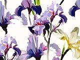 John Kaldor Kreppstoff, Blumenmuster, silberfarben,
