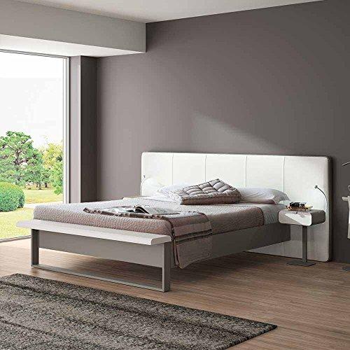 Pharao24 Bett mit Polsterkopfteil in Weiß Grau Metall Breite 227 cm Liegefläche 140x200