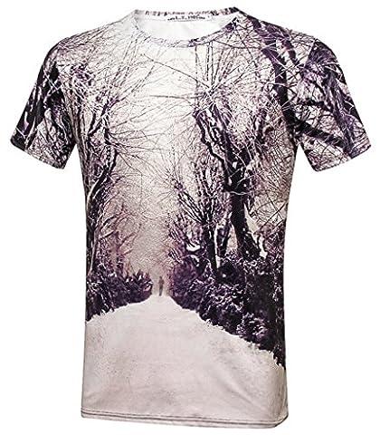 Pizoff Unisex Hipster Short Sleeve 3D Winter Screen Tree Print Slim Fit T-Shirt Y1800-14-S