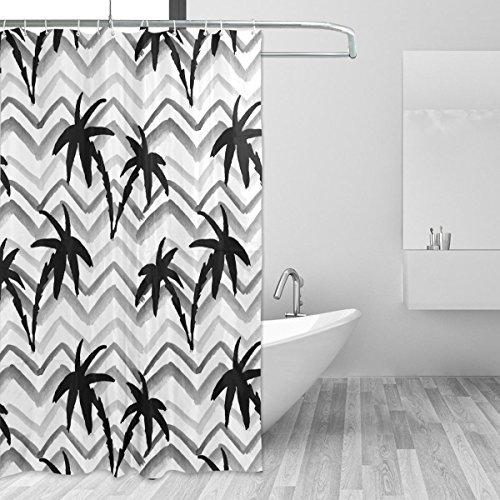 CPYang Tropic Palm Baum Wave Polyester-Hintergrund-Vorhänge Dusche Wasserdicht und Schimmel Beständig Bad Vorhang für Badezimmer Dekoration mit 12Vorhang Haken 182,9x 182,9cm (Palm-baum-dusche Vorhang Ringe)