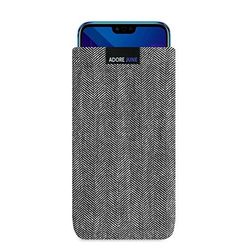 Adore June Business Tasche für Huawei Honor 10 Handytasche aus charakteristischem Fischgrat Stoff - Grau/Schwarz | Schutztasche Zubehör mit Bildschirm Reinigungs-Effekt | Made in Europe