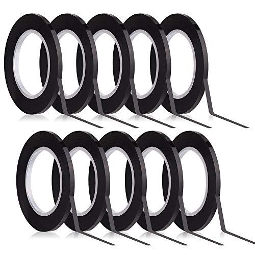 Kuuqa Schwarzes Whiteboard Tape 3mm Breite Graphic Tape Charts Bänder Gitter Markierungsband Selbstklebend, 10 Rollen.. (Charting-band)