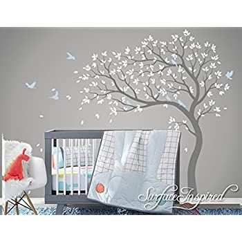 Beautiful Removable Vinyl Blossom Tree Wall Stickers With Birds Tree Wall  Decal Nursery Large Pink Tree