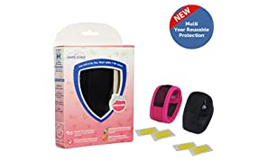 Safe-O-Kid Mosquito Repellent Band with 4 Refills and 6 Anti Mosquito Patches (Pack of 2, Black/Pink)