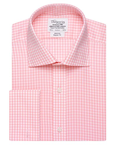 tmlewin-mens-non-iron-gingham-regular-fit-double-cuff-shirt-pink-155