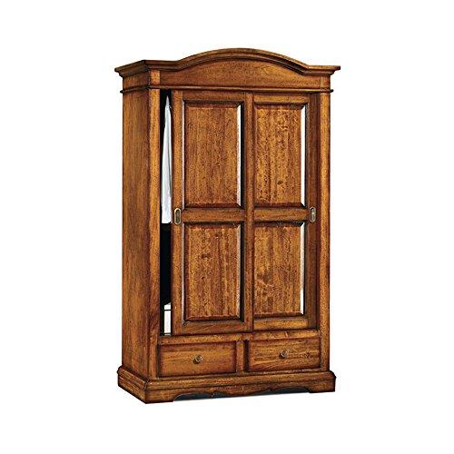 Inhouse srls armadio con ante scorrevoli, arte povera, in legno massello e mdf con rifinitura in noce lucido - mis. 122 x 59 x 200