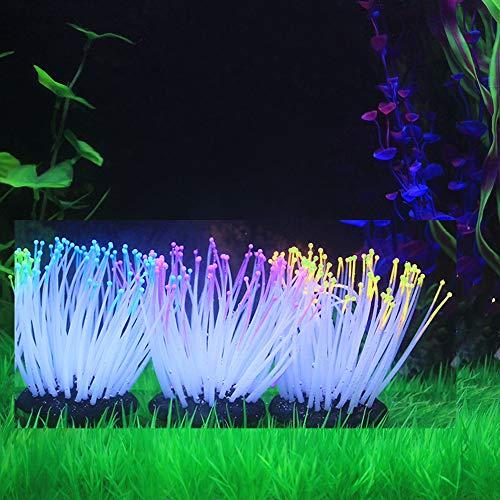 Decdeal 3 Stück Glühende Künstliche Seeanemone für Aquarium Dekoration Gelb+Lila+Blau -