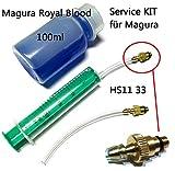 Scheibenbremsen Entlüftungsset Service Kit mit 100ml Magura Royal Blood Öl & Felgenbremsen Hs11 Hs22 Hs33 Evo Firmtech bis 2010