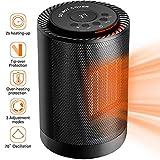 Mini calefactor de cerámica con indicador LED, termostato constante, control de temperatura con 3 niveles de potencia, protección contra sobrecalentamiento y retardante de llama automático