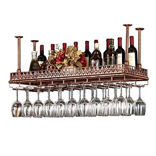 POLKMN Flaschenregal Weinregale Deckenmontierter Hängehalter Höhenverstellbar Vintage Metall Eisen Becher Stemware Regal (Size : 60 * 35cm) Stemware Fall