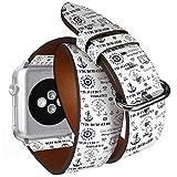 Compatible avec Big Apple Watch 42 mm et 44 mm Double Tour Roll Bracelet de Montre en...