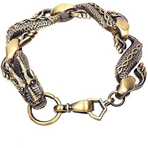 Ujewelry da uomo in acciaio INOX e pelle con drago cinese, bracciale Bracciale