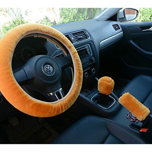 Larcele Lenkradhüllen Handbremse Schalthebel Plüsch Bezug, passend für Lenkrad Durchmesser 38 cm/14.96inch FXPT-01 Mehrweg (Haarfarbe des Kamels)