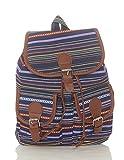 malito Damen Rucksack | Handtasche in trendigen Farben | Tasche mit vielen Mustern - Schultasche R800 (dunkelblau-orange)