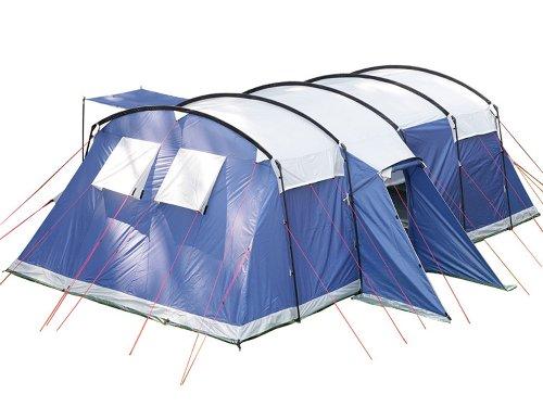 skandika Milano 10 Personen Familien-Zelt blau, wasserdicht durch starke 5000 mm Wassersäule. Großes, geräumiges und robustes Steilwand-Zelt, Tunnel-Zelt mit 2 Schlaf-Kabinen, Insekten-Netzen und über 2 m Stehhöhe